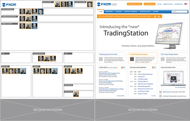 Persona focus strategy & resulting home page wireframe