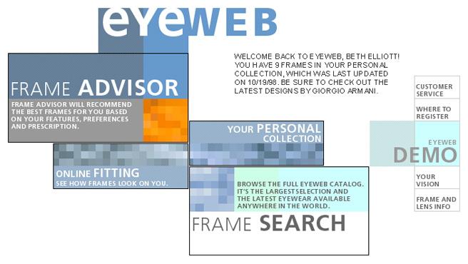 Eyeweb.com homepage